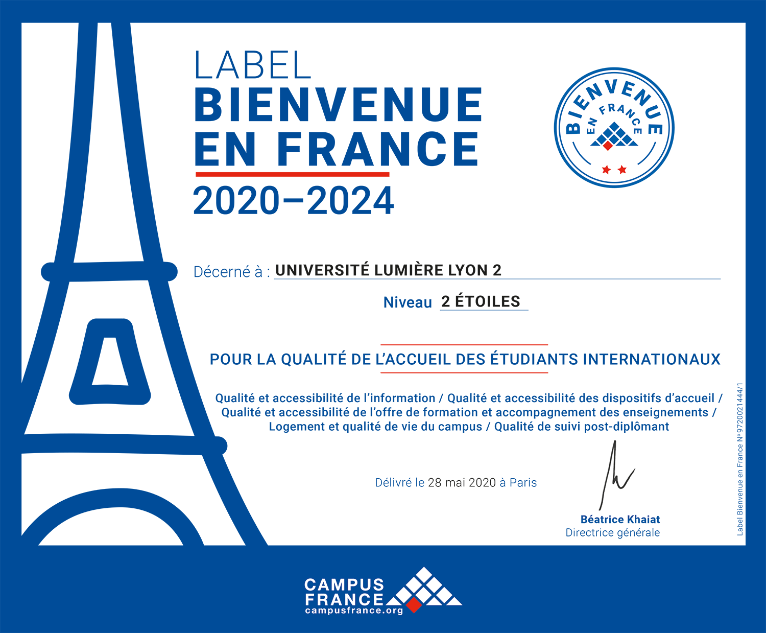 "Label ""Bienvenue en France"" - 2 étoiles"